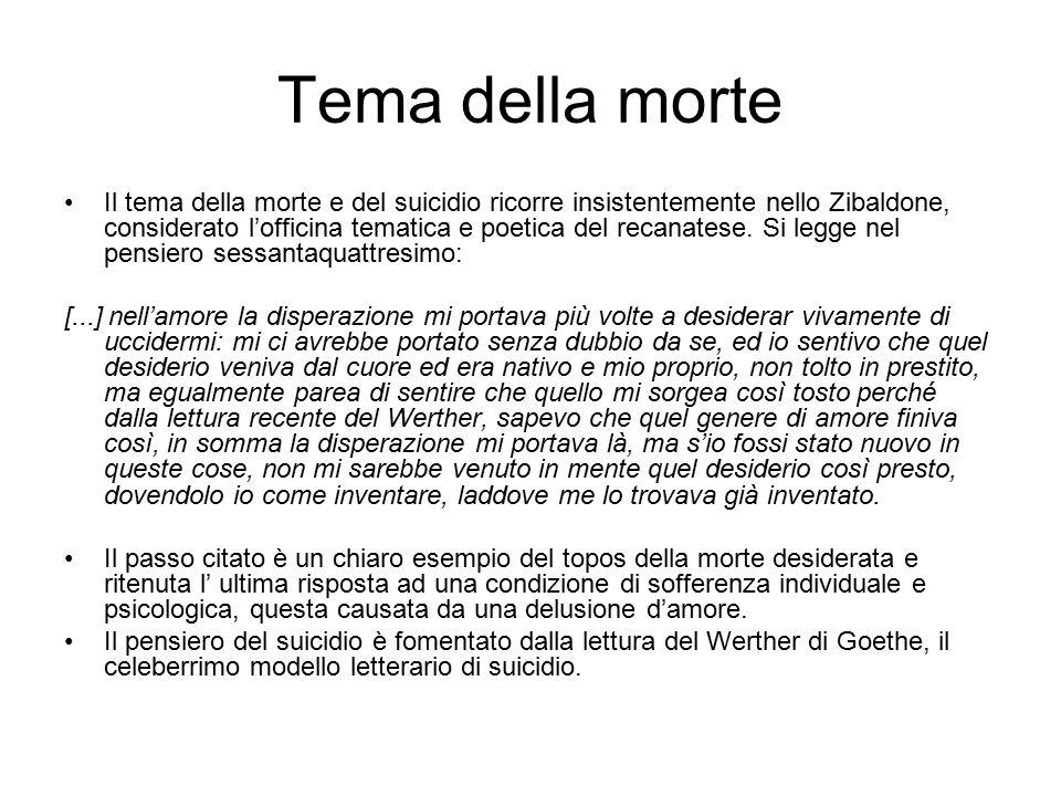 Tema della morte Il tema della morte e del suicidio ricorre insistentemente nello Zibaldone, considerato l'officina tematica e poetica del recanatese.