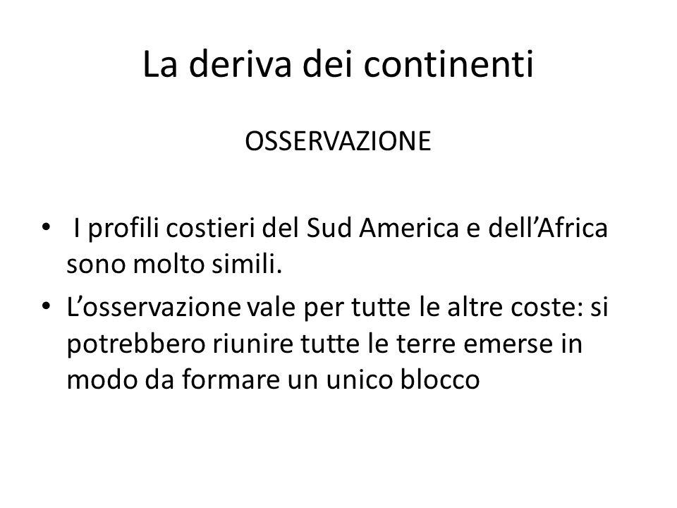 La deriva dei continenti OSSERVAZIONE I profili costieri del Sud America e dell'Africa sono molto simili.