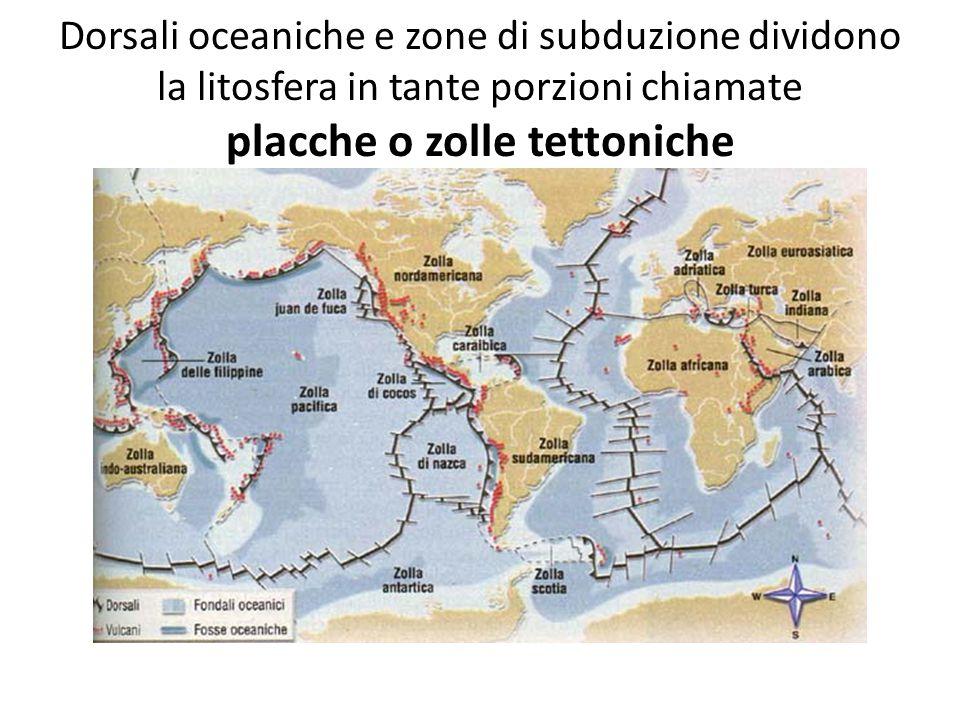 Dorsali oceaniche e zone di subduzione dividono la litosfera in tante porzioni chiamate placche o zolle tettoniche