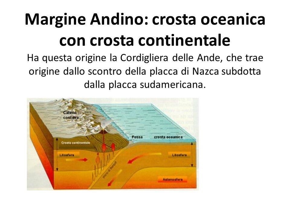Margine Andino: crosta oceanica con crosta continentale Ha questa origine la Cordigliera delle Ande, che trae origine dallo scontro della placca di Nazca subdotta dalla placca sudamericana.