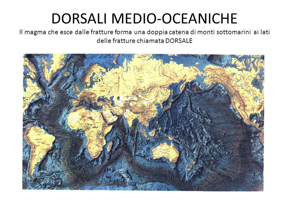 DORSALI MEDIO-OCEANICHE Il magma che esce dalle fratture forma una doppia catena di monti sottomarini ai lati delle fratture chiamata DORSALE