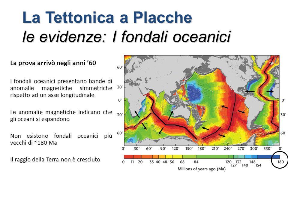 La prova arrivò negli anni '60 I fondali oceanici presentano bande di anomalie magnetiche simmetriche rispetto ad un asse longitudinale Le anomalie magnetiche indicano che gli oceani si espandono Non esistono fondali oceanici più vecchi di ~180 Ma Il raggio della Terra non è cresciuto La Tettonica a Placche le evidenze: I fondali oceanici