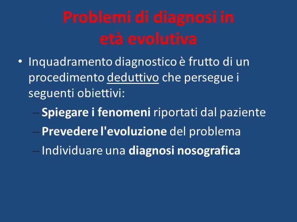 Problemi di diagnosi in età evolutiva Inquadramento diagnostico è frutto di un procedimento deduttivo che persegue i seguenti obiettivi: – Spiegare i fenomeni riportati dal paziente – Prevedere l evoluzione del problema – Individuare una diagnosi nosografica