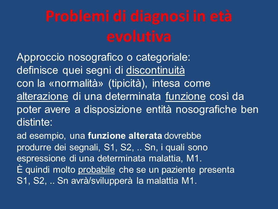 Problemi di diagnosi in età evolutiva Approccio nosografico o categoriale: definisce quei segni di discontinuità con la «normalità» (tipicità), intesa