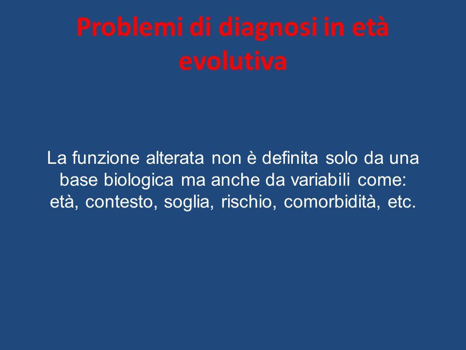 Problemi di diagnosi in età evolutiva La funzione alterata non è definita solo da una base biologica ma anche da variabili come: età, contesto, soglia, rischio, comorbidità, etc.