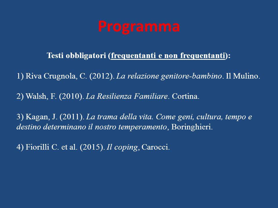 Programma Testi obbligatori (frequentanti e non frequentanti): 1) Riva Crugnola, C. (2012). La relazione genitore-bambino. Il Mulino. 2) Walsh, F. (20