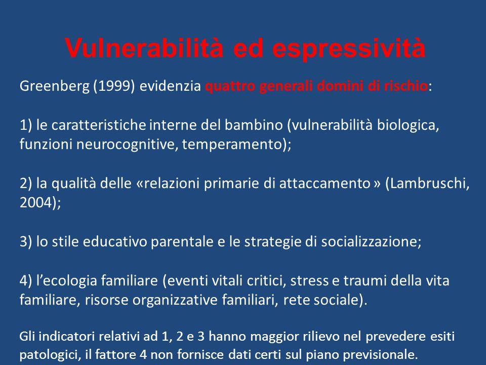 Vulnerabilità ed espressività Greenberg (1999) evidenzia quattro generali domini di rischio: 1) le caratteristiche interne del bambino (vulnerabilità