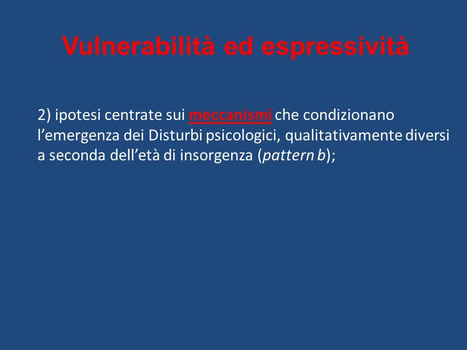 Vulnerabilità ed espressività 2) ipotesi centrate sui meccanismi che condizionano l'emergenza dei Disturbi psicologici, qualitativamente diversi a seconda dell'età di insorgenza (pattern b);