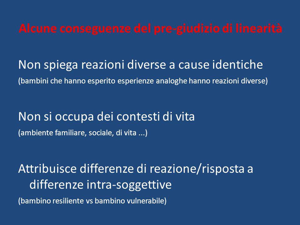 Alcune conseguenze del pre-giudizio di linearità Non spiega reazioni diverse a cause identiche (bambini che hanno esperito esperienze analoghe hanno r