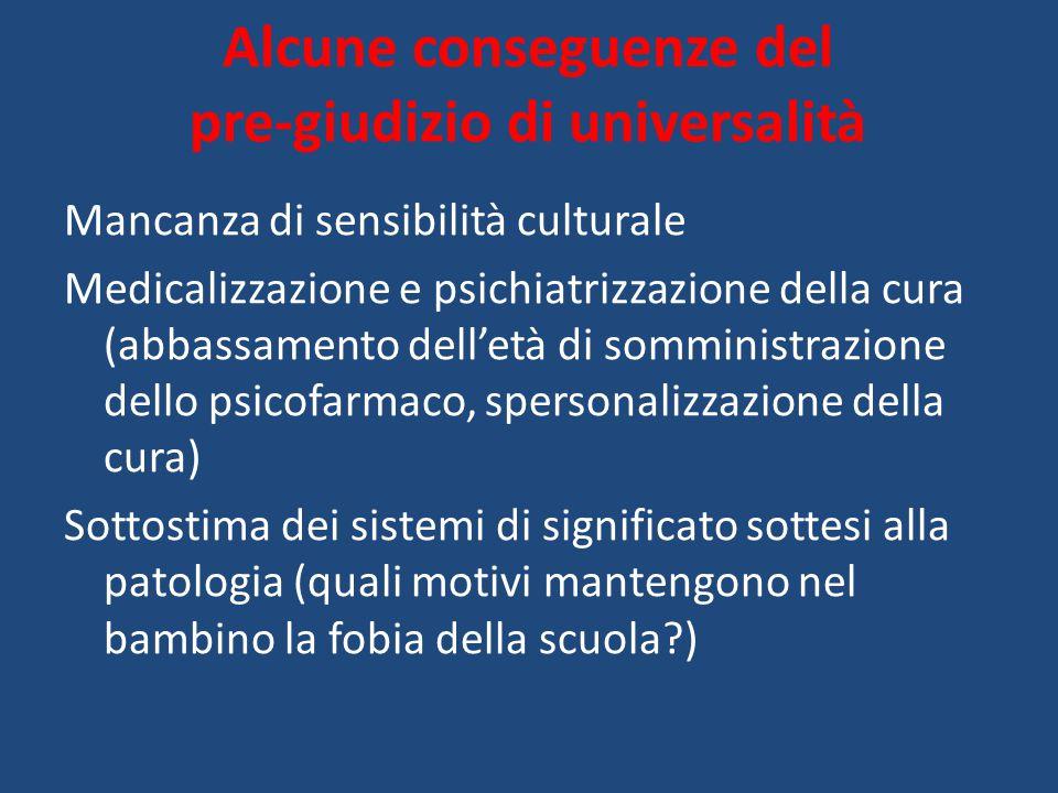 Alcune conseguenze del pre-giudizio di universalità Mancanza di sensibilità culturale Medicalizzazione e psichiatrizzazione della cura (abbassamento d