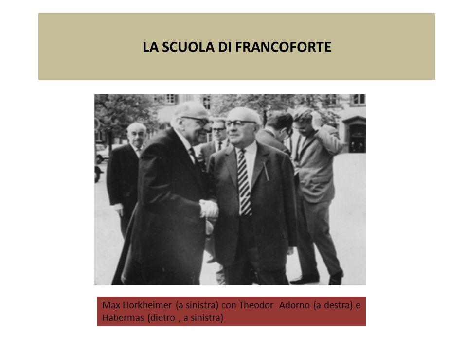 LA SCUOLA DI FRANCOFORTE Max Horkheimer (a sinistra) con Theodor Adorno (a destra) e Habermas (dietro, a sinistra)