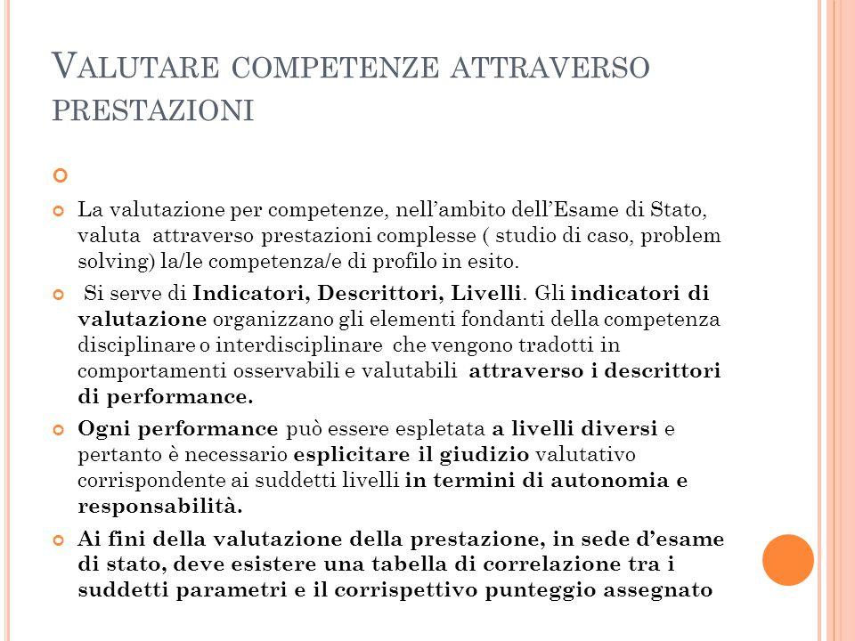 V ALUTARE COMPETENZE ATTRAVERSO PRESTAZIONI La valutazione per competenze, nell'ambito dell'Esame di Stato, valuta attraverso prestazioni complesse (