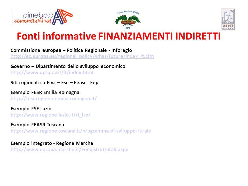 Fonti informative FINANZIAMENTI INDIRETTI Commissione europea – Politica Regionale - Inforegio http://ec.europa.eu/regional_policy/what/future/index_i