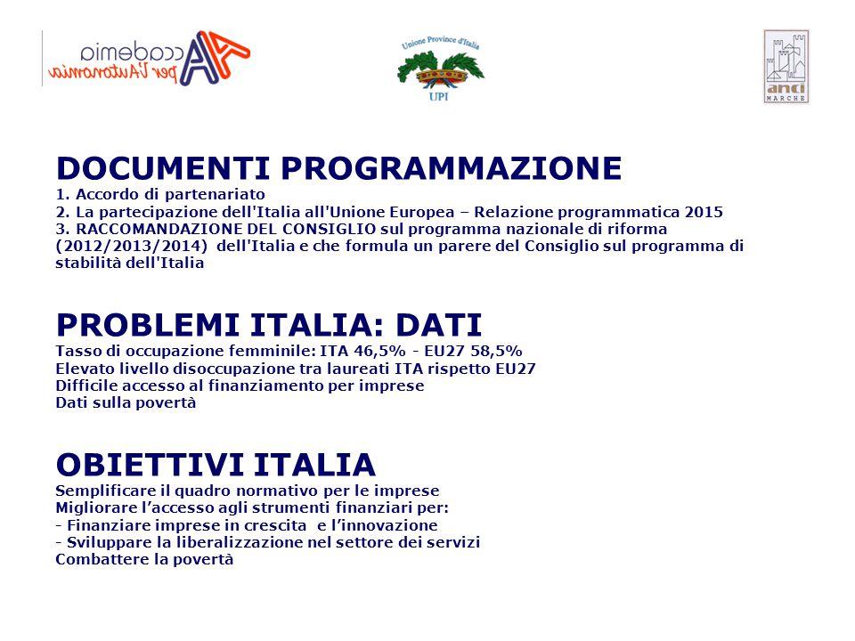 DOCUMENTI PROGRAMMAZIONE 1. Accordo di partenariato 2. La partecipazione dell'Italia all'Unione Europea – Relazione programmatica 2015 3. RACCOMANDAZI