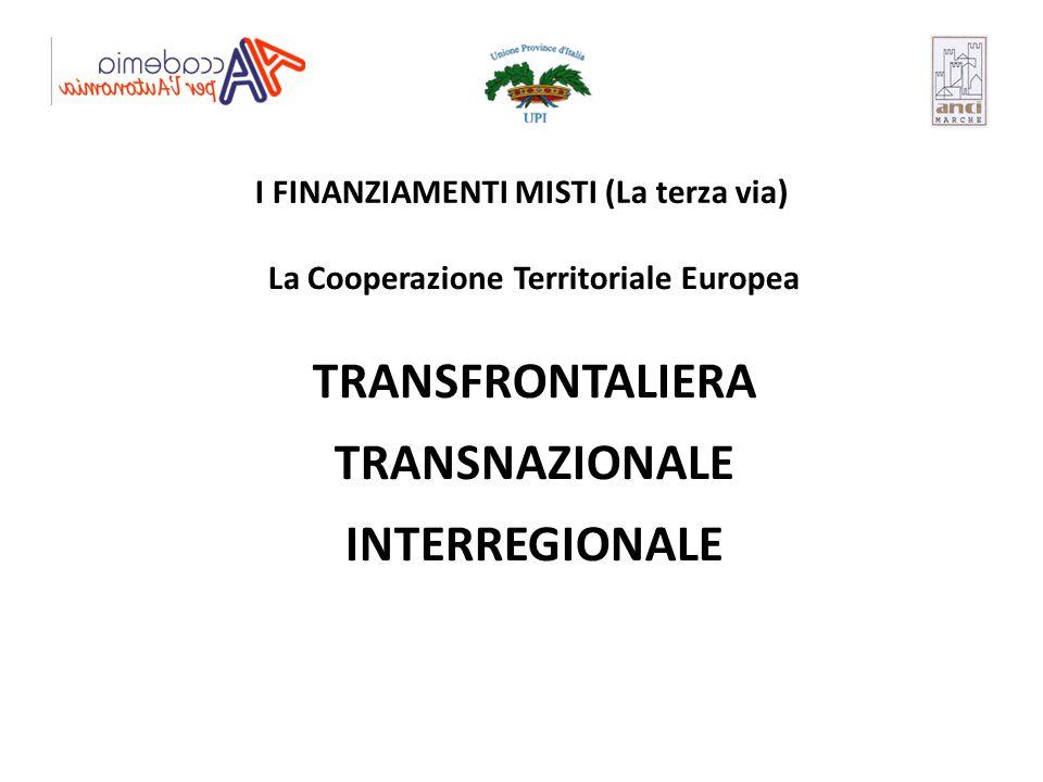 I FINANZIAMENTI MISTI (La terza via) La Cooperazione Territoriale Europea TRANSFRONTALIERA TRANSNAZIONALE INTERREGIONALE
