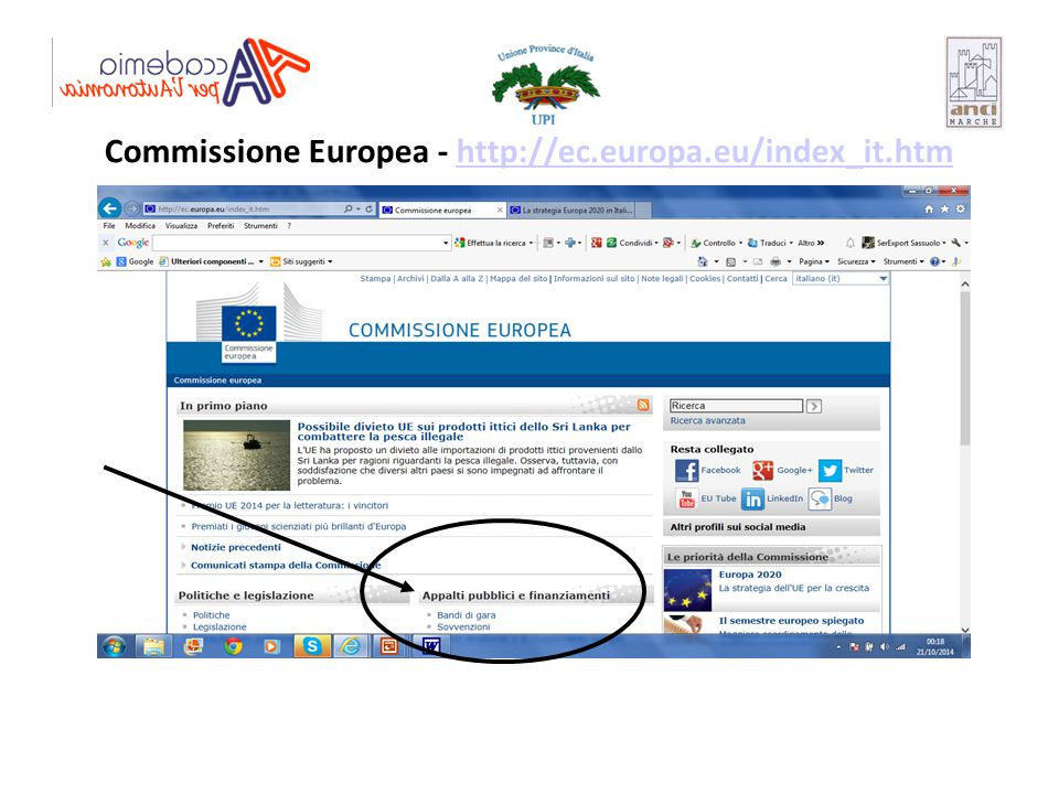 Commissione Europea - http://ec.europa.eu/index_it.htmhttp://ec.europa.eu/index_it.htm
