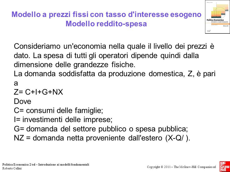 Copyright © 2011 – The McGraw-Hill Companies srl Politica Economica 2/ed – Introduzione ai modelli fondamentali Roberto Cellini Modello a prezzi fissi