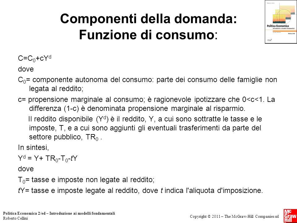 Copyright © 2011 – The McGraw-Hill Companies srl Politica Economica 2/ed – Introduzione ai modelli fondamentali Roberto Cellini Componenti della doman
