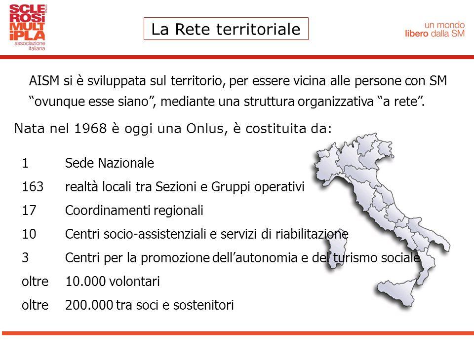 """La Rete territoriale AISM si è sviluppata sul territorio, per essere vicina alle persone con SM """"ovunque esse siano"""", mediante una struttura organizza"""