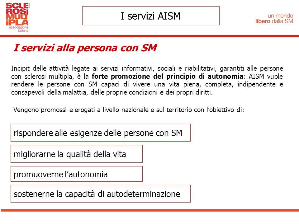 Vengono promossi e erogati a livello nazionale e sul territorio con l'obiettivo di: I servizi AISM I servizi alla persona con SM rispondere alle esige