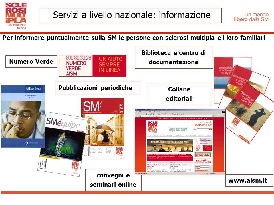 Biblioteca e centro di documentazione Per informare puntualmente sulla SM le persone con sclerosi multipla e i loro familiari Numero Verde Pubblicazio