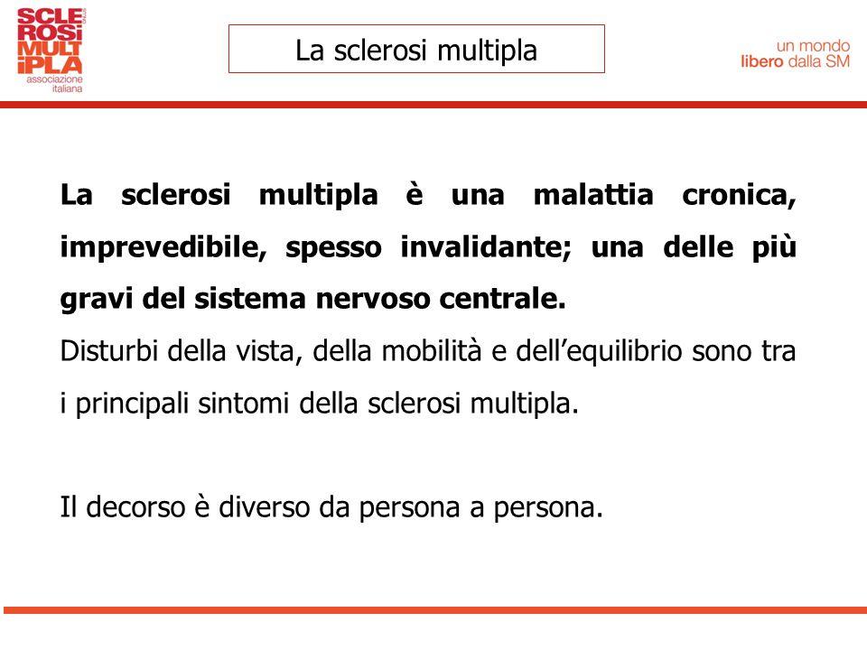 La sclerosi multipla La sclerosi multipla è una malattia cronica, imprevedibile, spesso invalidante; una delle più gravi del sistema nervoso centrale.