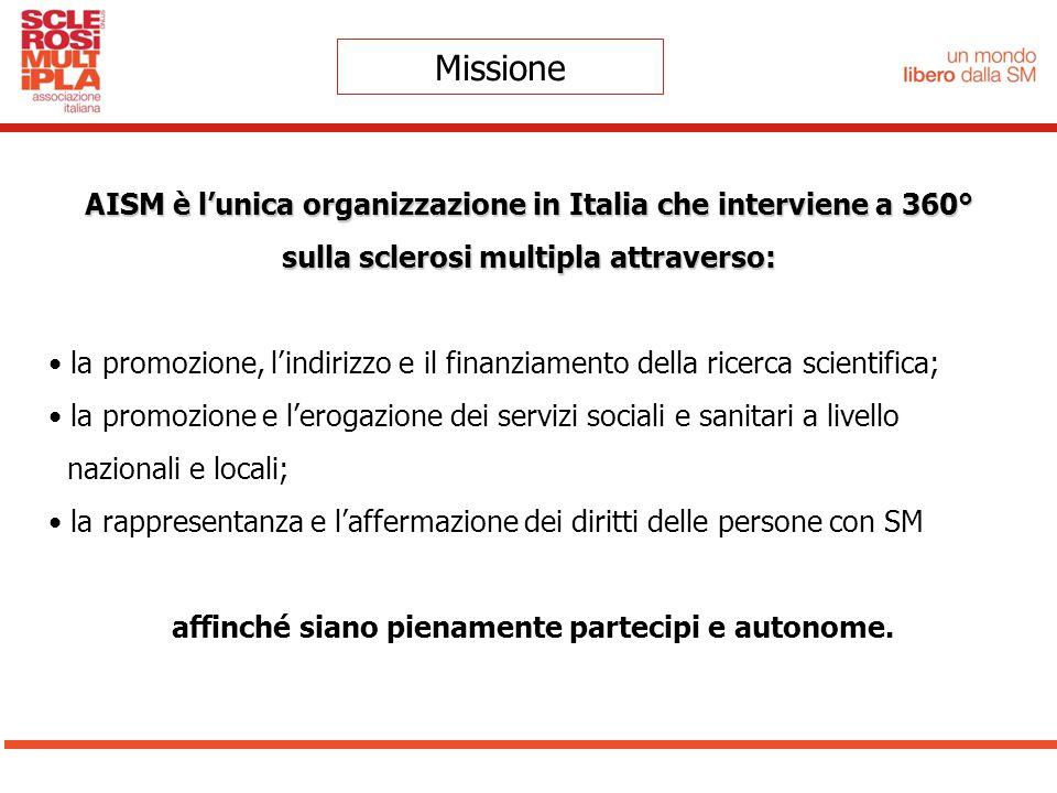 Missione AISM è l'unica organizzazione in Italia che interviene a 360° sulla sclerosi multipla attraverso: la promozione, l'indirizzo e il finanziamen