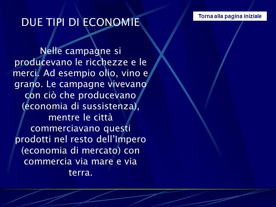 Torna alla pagina iniziale DUE TIPI DI ECONOMIE Nelle campagne si producevano le ricchezze e le merci. Ad esempio olio, vino e grano. Le campagne vive