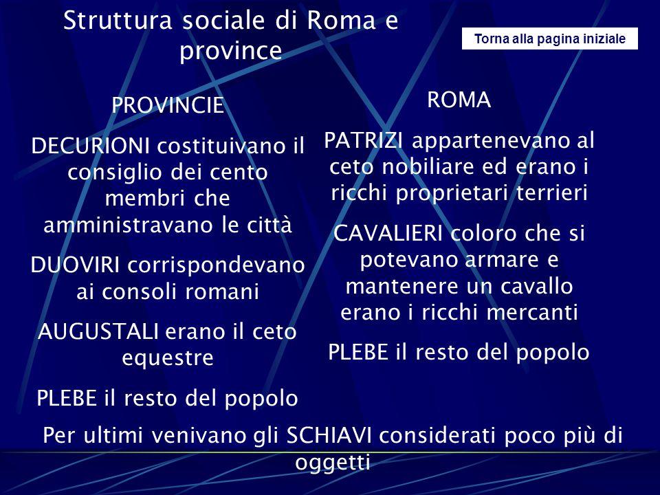 Torna alla pagina iniziale Struttura sociale di Roma e province PROVINCIE DECURIONI costituivano il consiglio dei cento membri che amministravano le c