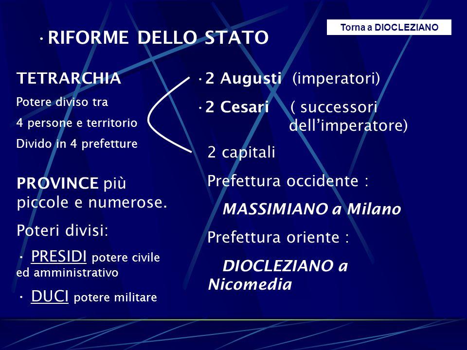 RIFORME DELLO STATO TETRARCHIA Potere diviso tra 4 persone e territorio Divido in 4 prefetture 2 Augusti (imperatori) 2 Cesari ( successori dell'imper