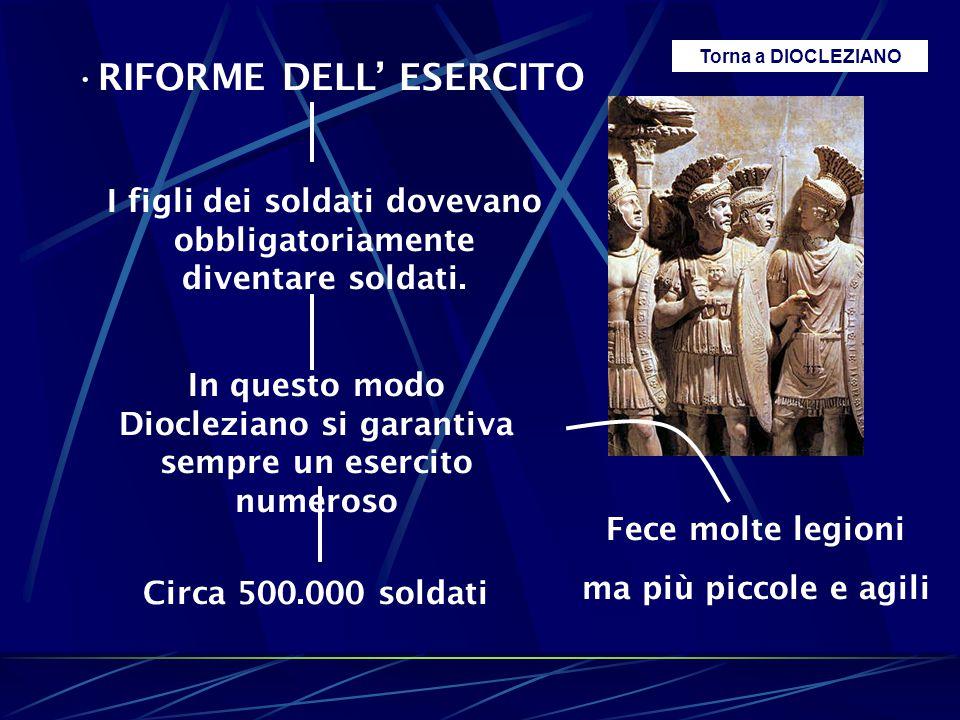 RIFORME DELL' ESERCITO I figli dei soldati dovevano obbligatoriamente diventare soldati. In questo modo Diocleziano si garantiva sempre un esercito nu