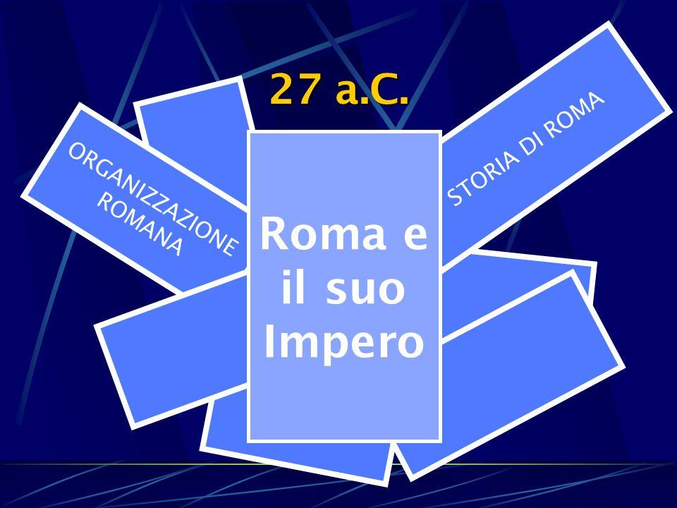 27 a.C. ORGANIZZAZIONE ROMANA STORIA DI ROMA Roma e il suo Impero