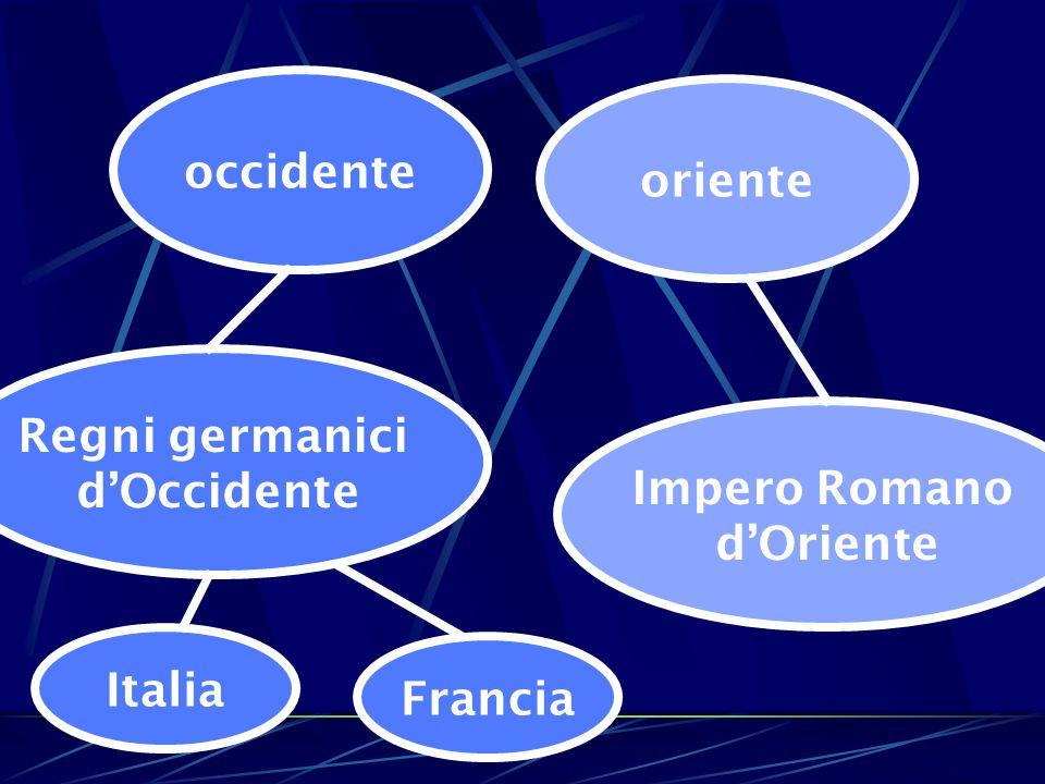 occidente oriente Regni germanici d'Occidente Impero Romano d'Oriente Italia Francia