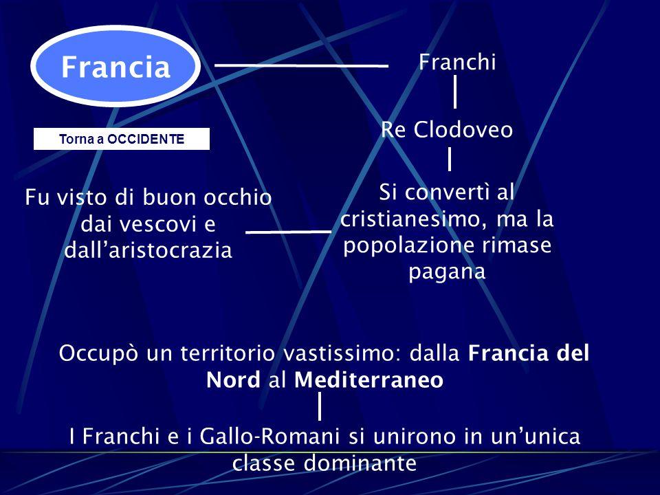 Francia Franchi Re Clodoveo Si convertì al cristianesimo, ma la popolazione rimase pagana Fu visto di buon occhio dai vescovi e dall'aristocrazia Occu