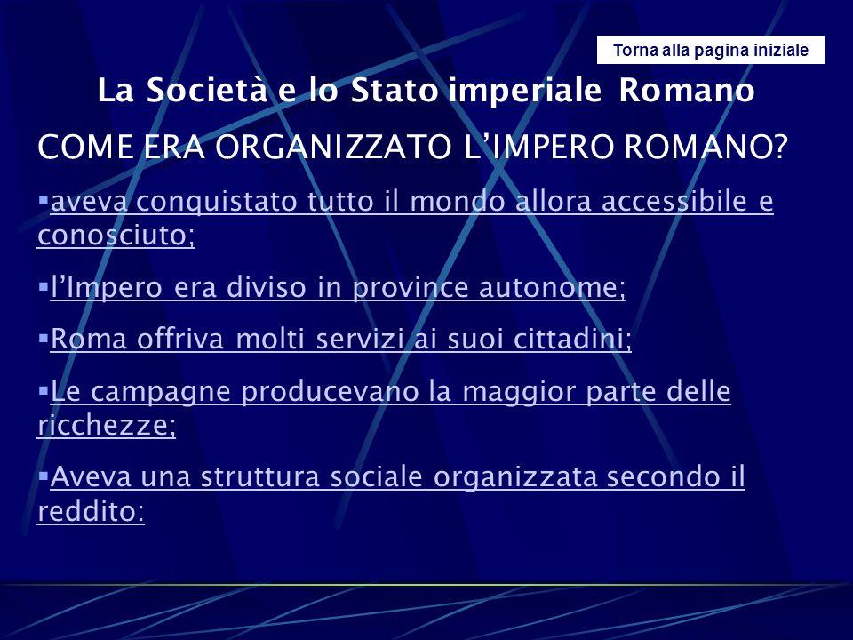 Torna alla pagina iniziale La Società e lo Stato imperiale Romano COME ERA ORGANIZZATO L'IMPERO ROMANO?  aveva conquistato tutto il mondo allora acce