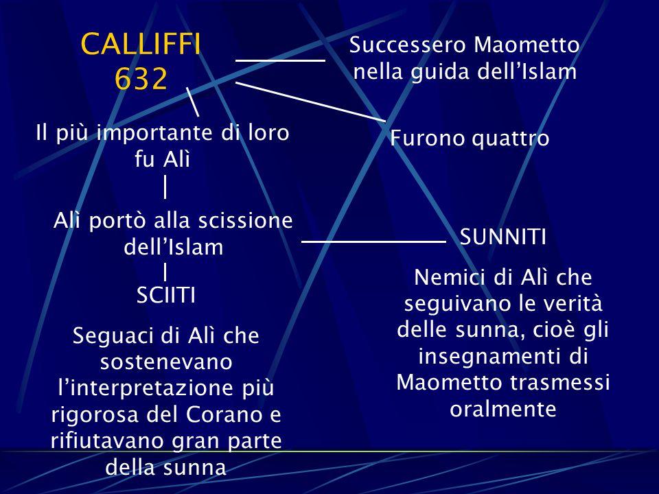 CALLIFFI 632 Successero Maometto nella guida dell'Islam Furono quattro Il più importante di loro fu Alì Alì portò alla scissione dell'Islam SUNNITI Ne