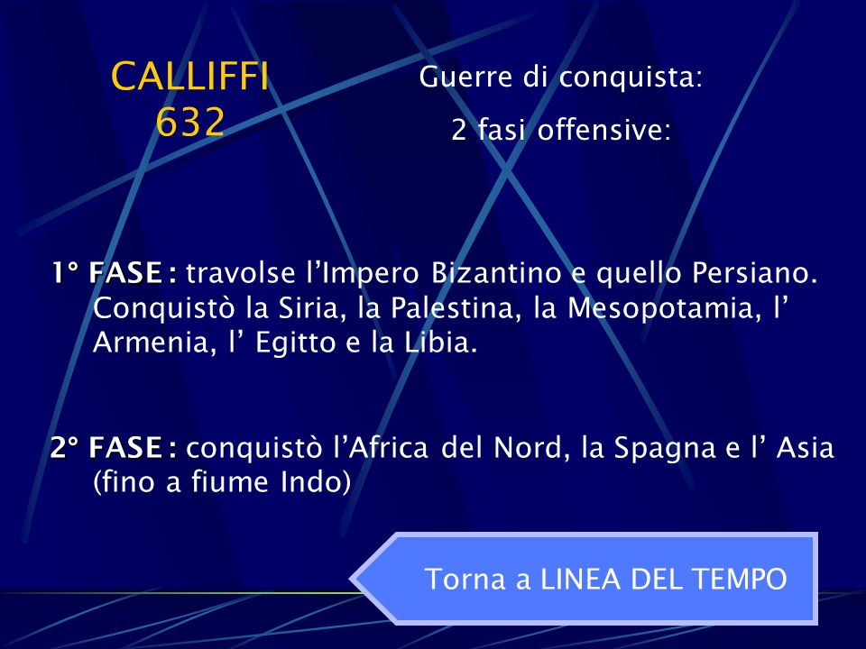 CALLIFFI 632 Guerre di conquista: 2 fasi offensive: 1° FASE : 1° FASE : travolse l'Impero Bizantino e quello Persiano. Conquistò la Siria, la Palestin