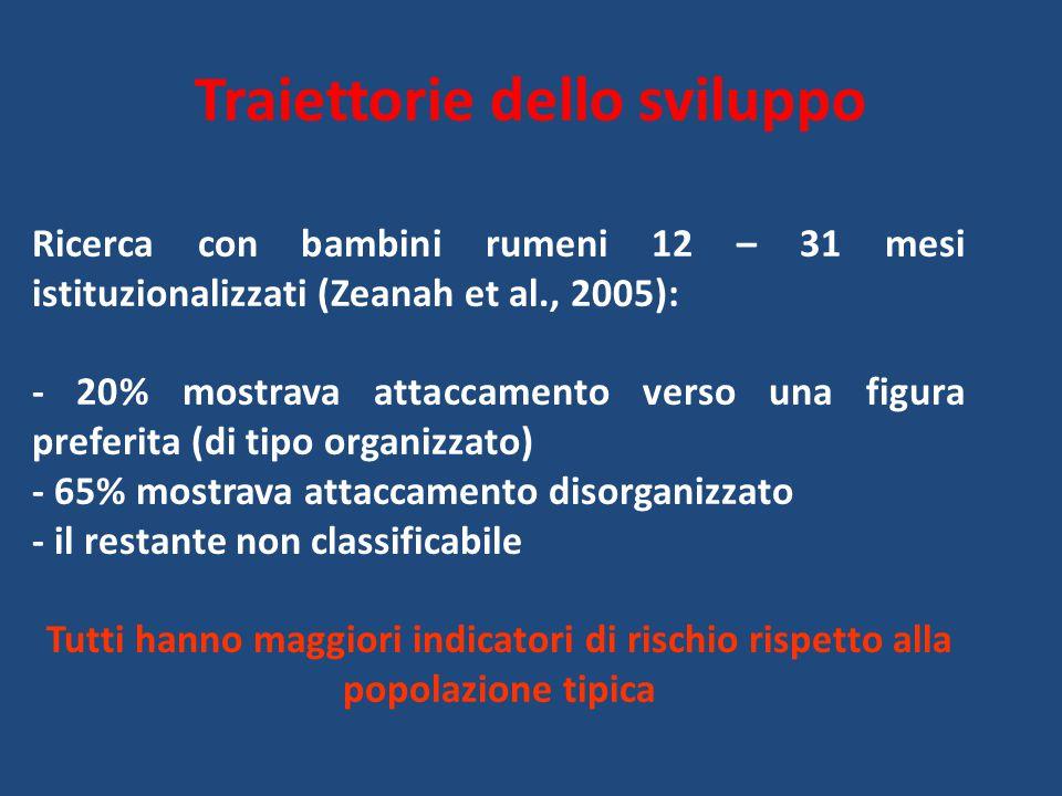 Traiettorie dello sviluppo Ricerca con bambini rumeni 12 – 31 mesi istituzionalizzati (Zeanah et al., 2005): - 20% mostrava attaccamento verso una fig