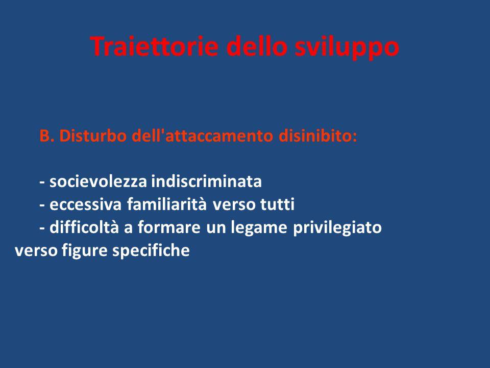 Traiettorie dello sviluppo B. Disturbo dell'attaccamento disinibito: - socievolezza indiscriminata - eccessiva familiarità verso tutti - difficoltà a