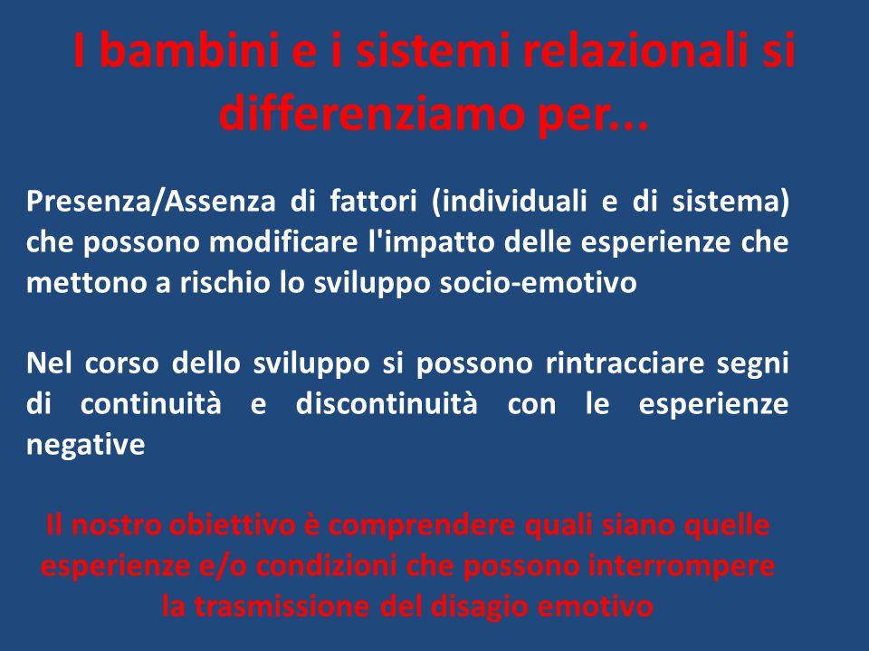 I bambini e i sistemi relazionali si differenziamo per... Presenza/Assenza di fattori (individuali e di sistema) che possono modificare l'impatto dell