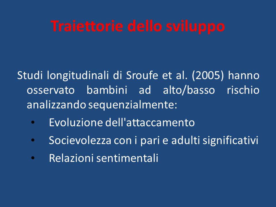 Studi longitudinali di Sroufe et al. (2005) hanno osservato bambini ad alto/basso rischio analizzando sequenzialmente: Evoluzione dell'attaccamento So