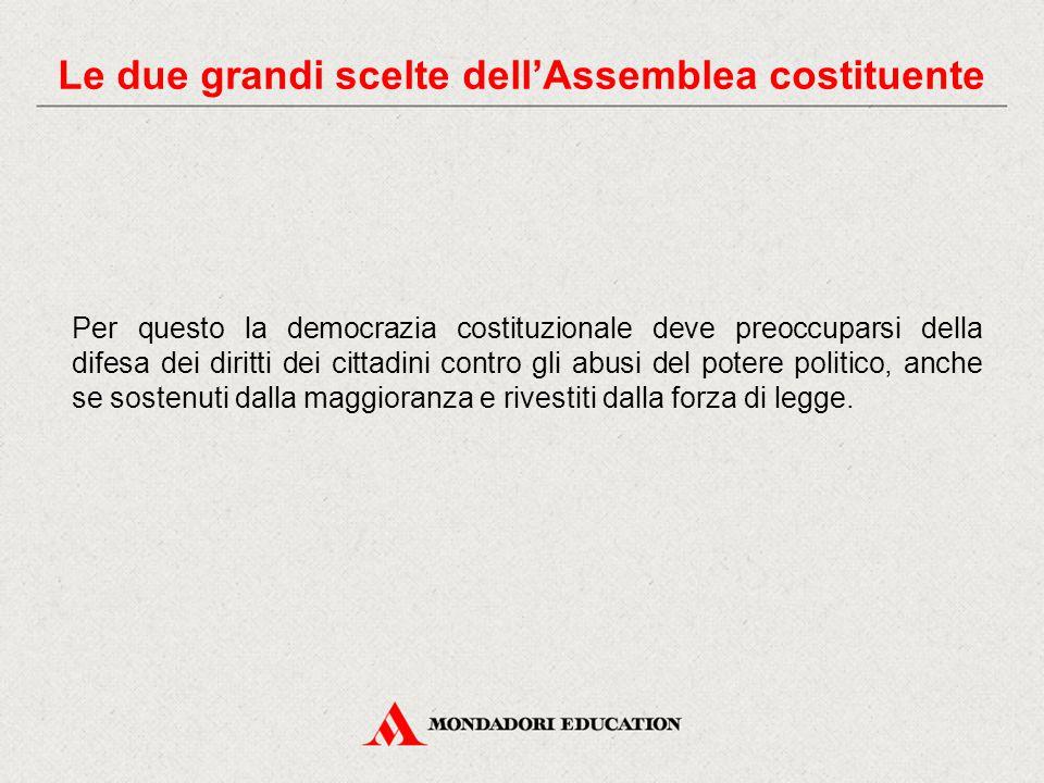 Per questo la democrazia costituzionale deve preoccuparsi della difesa dei diritti dei cittadini contro gli abusi del potere politico, anche se sostenuti dalla maggioranza e rivestiti dalla forza di legge.