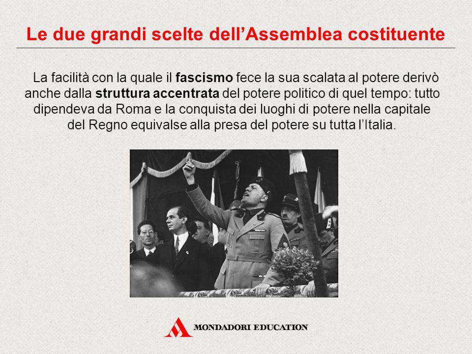 La facilità con la quale il fascismo fece la sua scalata al potere derivò anche dalla struttura accentrata del potere politico di quel tempo: tutto di