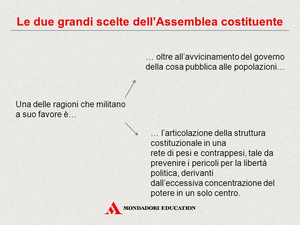 … l'articolazione della struttura costituzionale in una rete di pesi e contrappesi, tale da prevenire i pericoli per la libertà politica, derivanti da