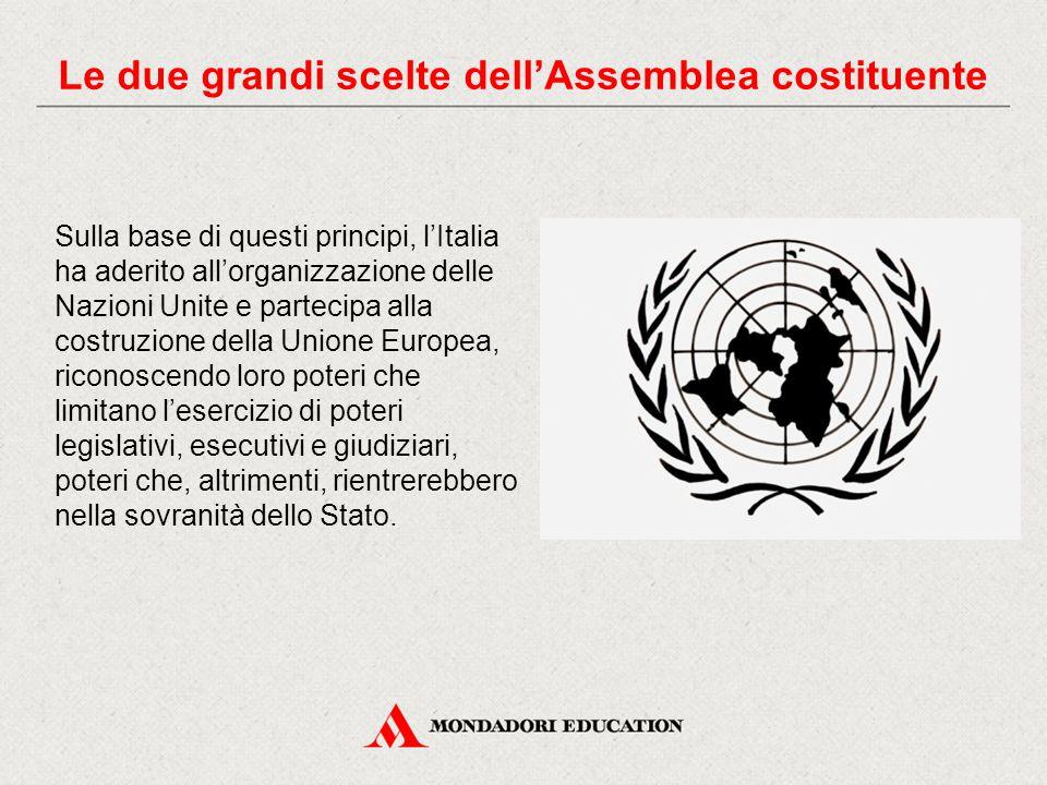 Sulla base di questi principi, l'Italia ha aderito all'organizzazione delle Nazioni Unite e partecipa alla costruzione della Unione Europea, riconoscendo loro poteri che limitano l'esercizio di poteri legislativi, esecutivi e giudiziari, poteri che, altrimenti, rientrerebbero nella sovranità dello Stato.