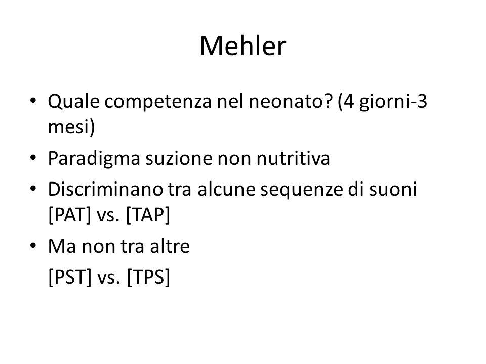 Mehler Quale competenza nel neonato? (4 giorni-3 mesi) Paradigma suzione non nutritiva Discriminano tra alcune sequenze di suoni [PAT] vs. [TAP] Ma no
