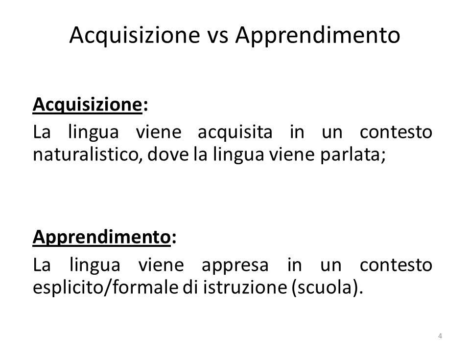 4 Acquisizione vs Apprendimento Acquisizione: La lingua viene acquisita in un contesto naturalistico, dove la lingua viene parlata; Apprendimento: La