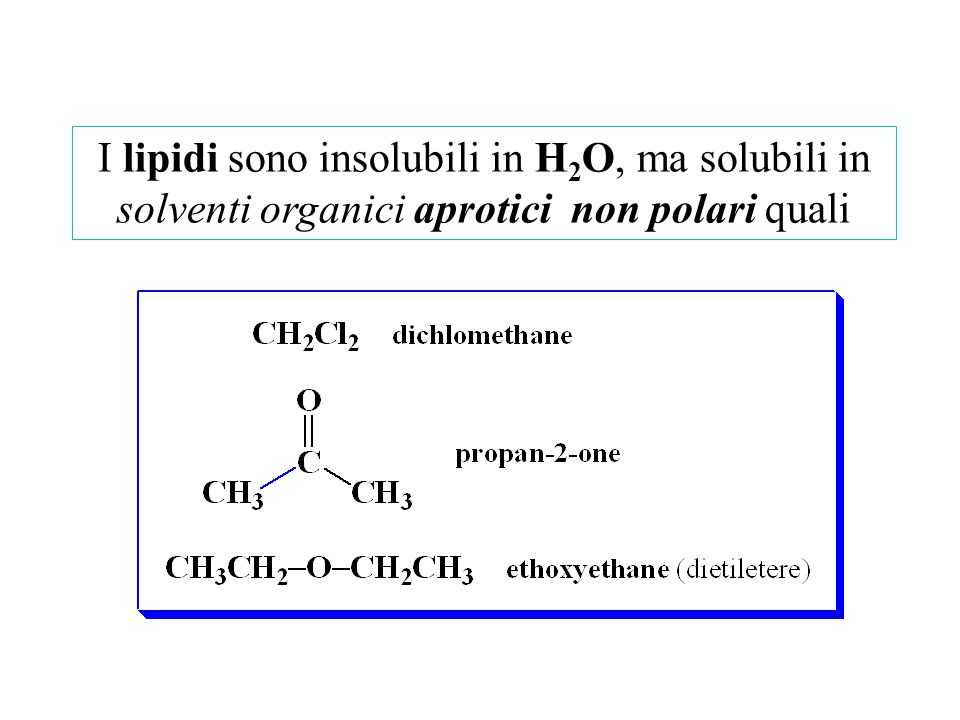 I lipidi sono insolubili in H 2 O, ma solubili in solventi organici aprotici non polari quali