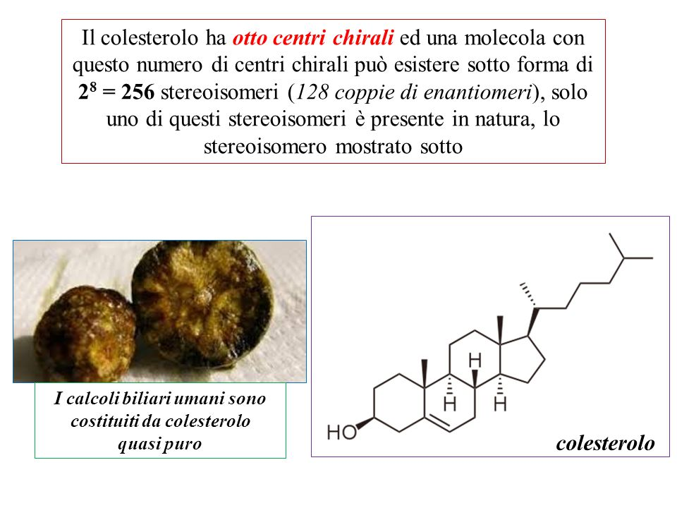 Il colesterolo ha otto centri chirali ed una molecola con questo numero di centri chirali può esistere sotto forma di 2 8 = 256 stereoisomeri (128 cop