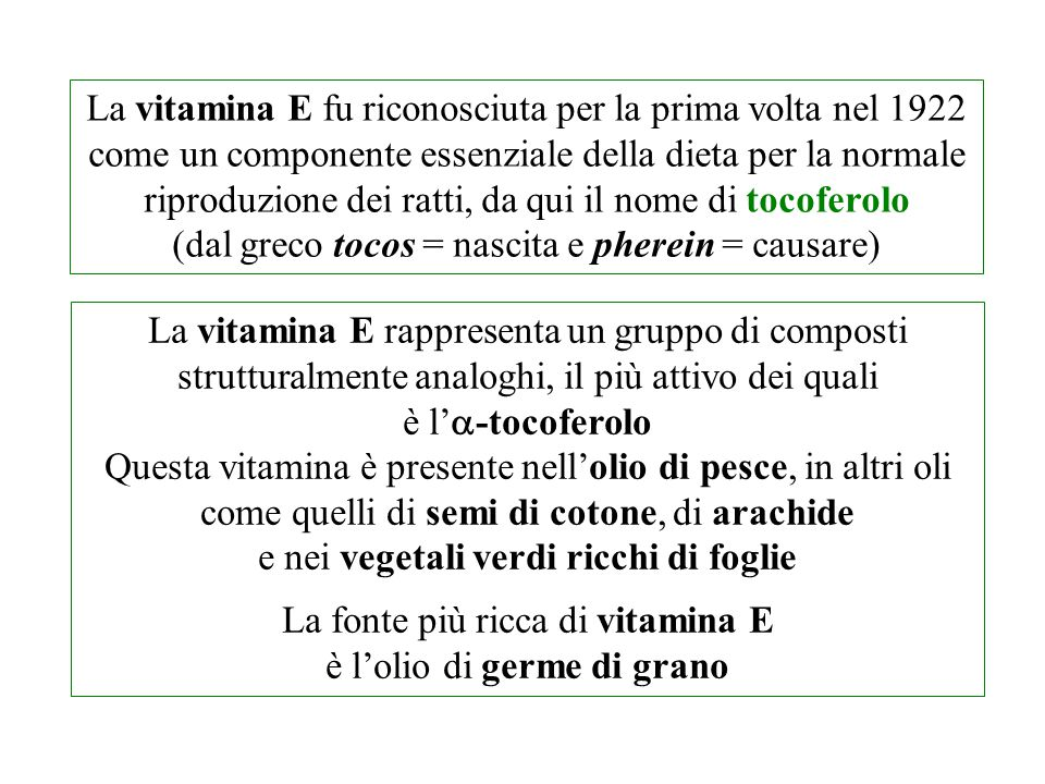 La vitamina E fu riconosciuta per la prima volta nel 1922 come un componente essenziale della dieta per la normale riproduzione dei ratti, da qui il n